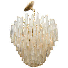 Midcentury Gold Dust Glass Murano Chandelier by Camer