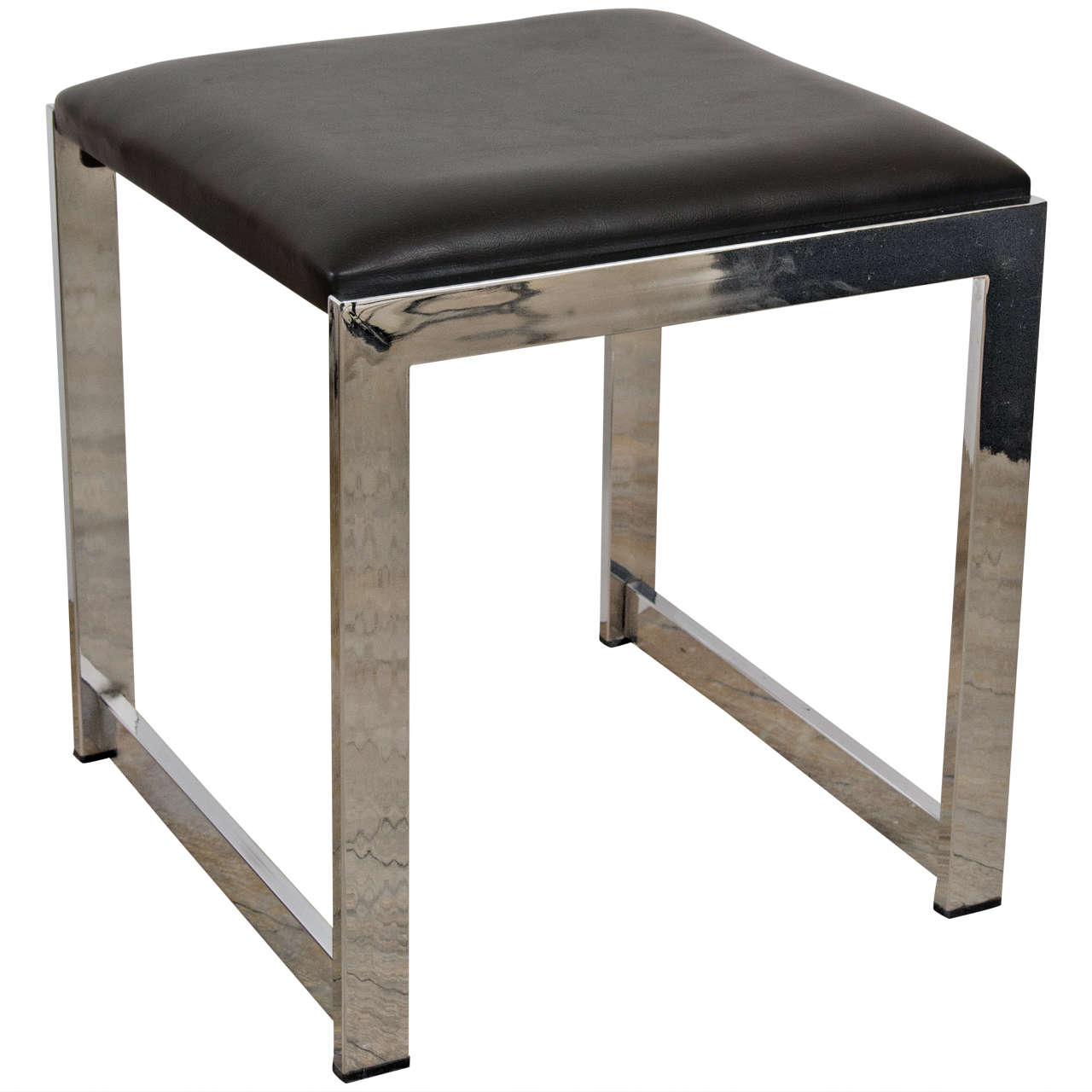 Mid Century Chrome And Vinyl Bench Or Stool At 1stdibs