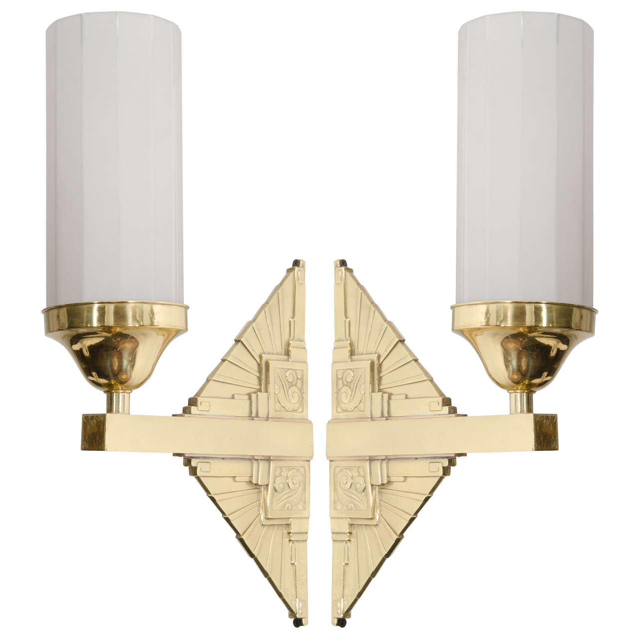 Art Deco Brass Wall Sconces : Art Deco Pair of Brass Wall Sconces at 1stdibs