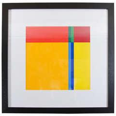 Mid-Century Geometric Silk Screen by Artist Jo Niemeyer