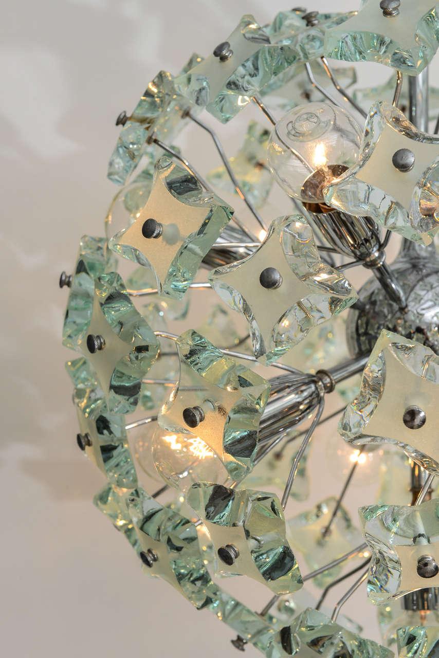 Mid-Century Modern 60's Italian Green Glass Sputnik Chandelier For Sale