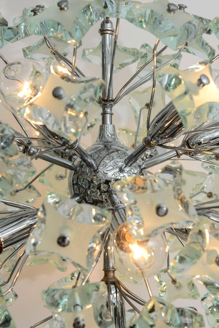 60's Italian Green Glass Sputnik Chandelier In Excellent Condition For Sale In North Miami, FL