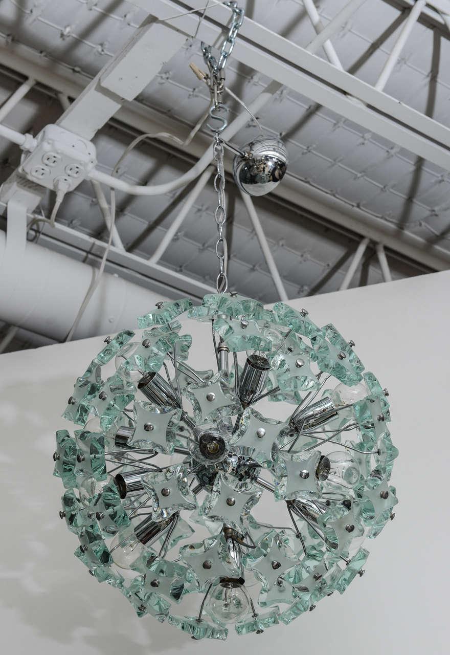 Mid-20th Century 60's Italian Green Glass Sputnik Chandelier For Sale