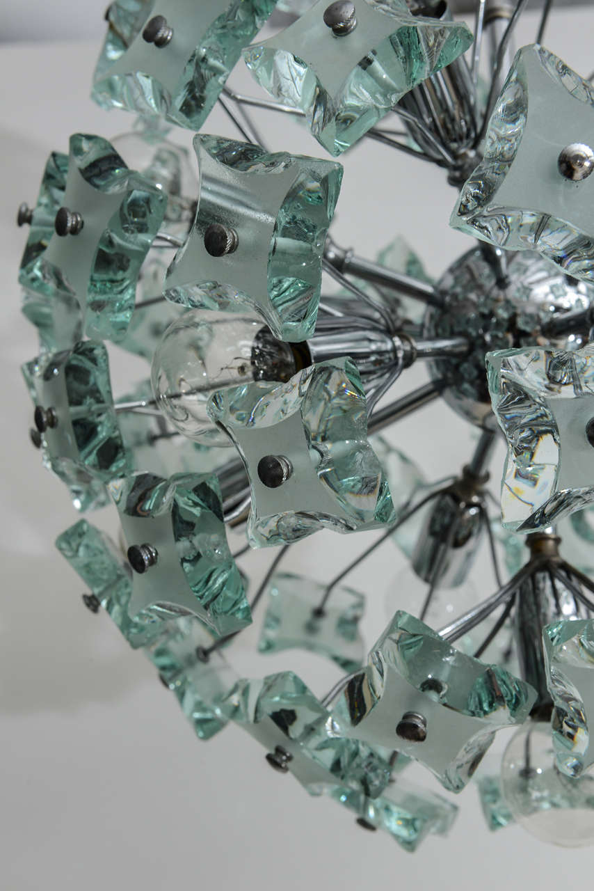 Chrome 60's Italian Green Glass Sputnik Chandelier For Sale