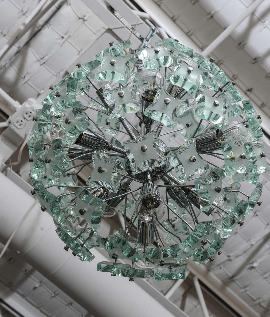 60's Italian Green Glass Sputnik Chandelier For Sale 2