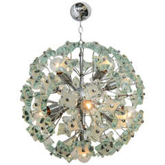 60's Italian Green Glass Sputnik Chandelier
