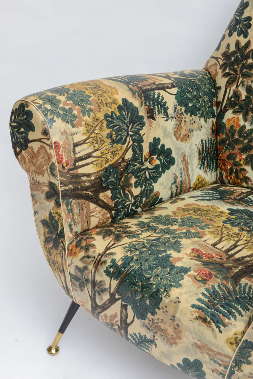 50's Italian Armchair with Original Upholstery (2 Available) 8