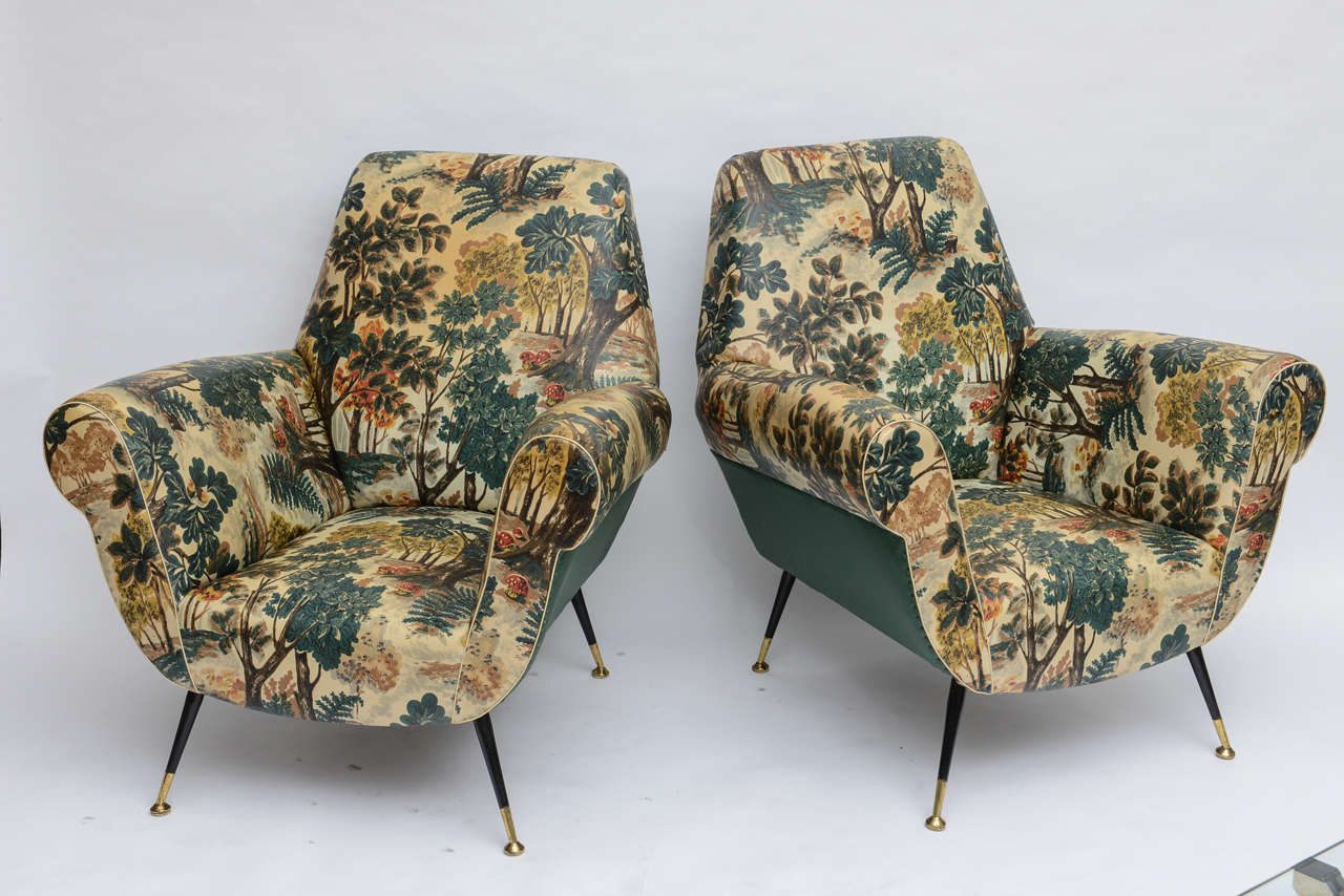 50's Italian Armchair with Original Upholstery (2 Available) 9