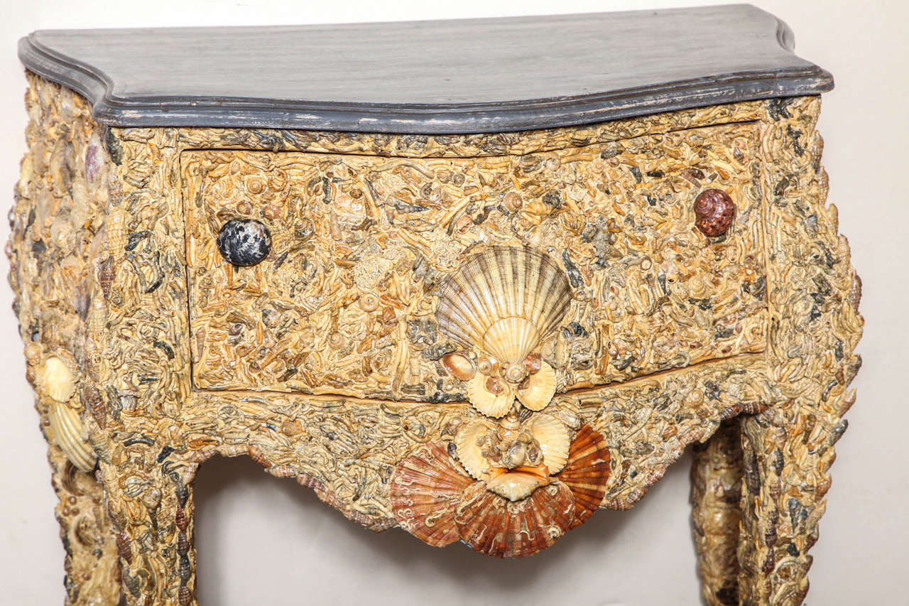 Rococo 19th Century Italian Grotto Shell Commode For Sale