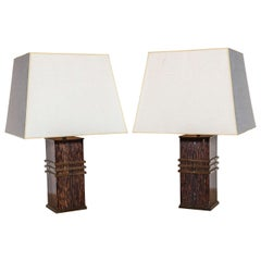 Pair of French Modernist Black Palm and Bronze Lamps
