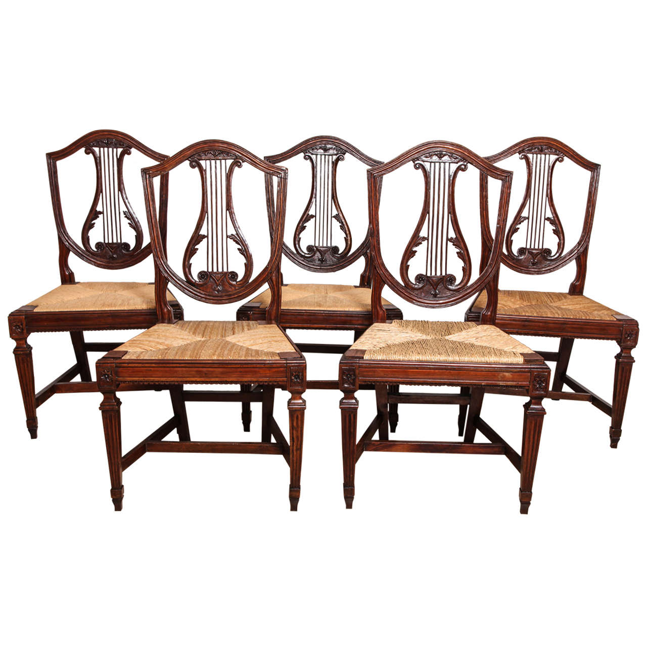 Set of Five Italian Neoclassical Walnut, Lyre Back Side Chairs - Lyre Back Chairs - 62 For Sale On 1stdibs