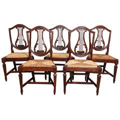 Set of Five Italian Neoclassical Walnut, Lyre Back Side Chairs