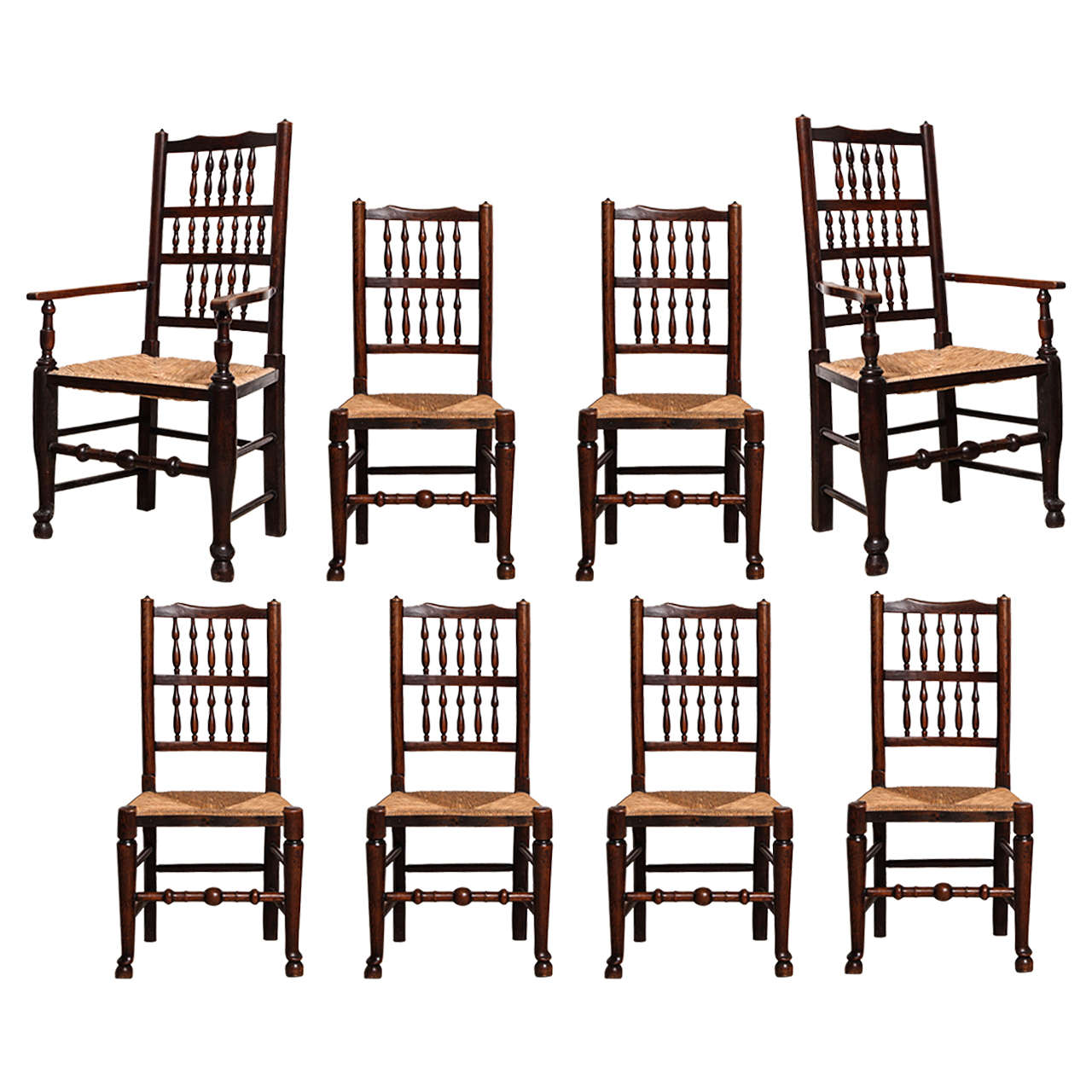 Set Of Eight Early 19th Century English Country Spindle Back Dining Chairs For