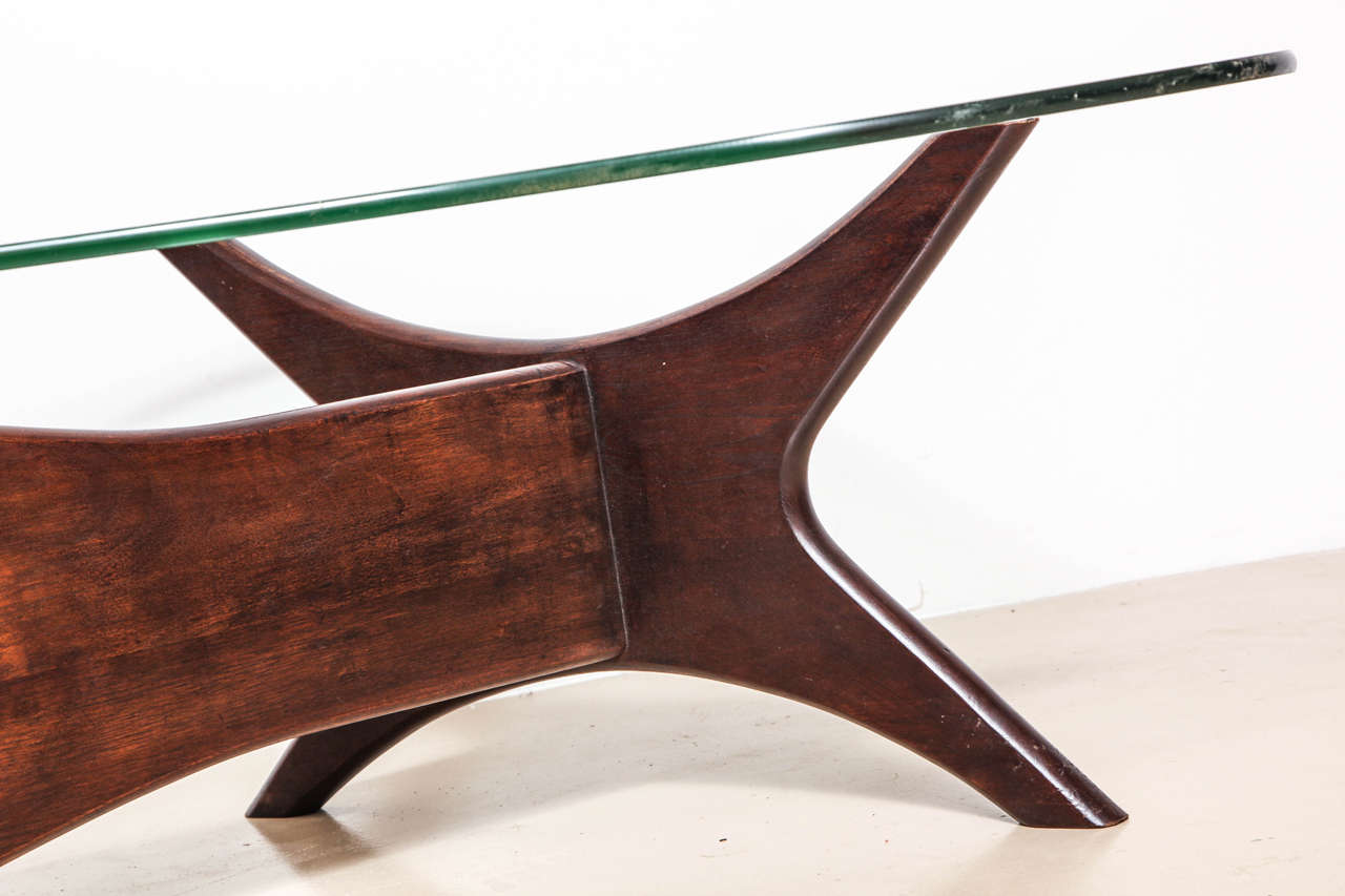 Biomorphic Coffee Table Mid Century Glass Top And Walnut Biomorphic Coffee Table At 1stdibs