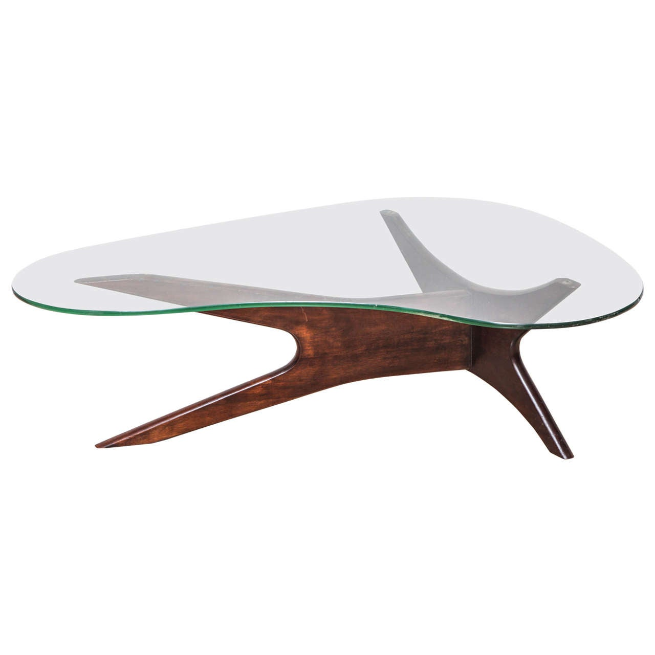 Superior Mid Century Glass Top And Walnut Biomorphic Coffee Table For Sale