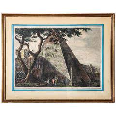 """""""Veduta Della Pirimide Di C. Cestio"""" Hand-Tinted Engraving by Luigi Rossini"""
