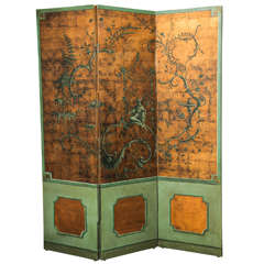 19th Century Three-Fold Chinoiserie Hand-Painted Screen