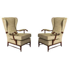 Paolo Buffa attributed pair of beech wood armchairs, Italy circa 1940