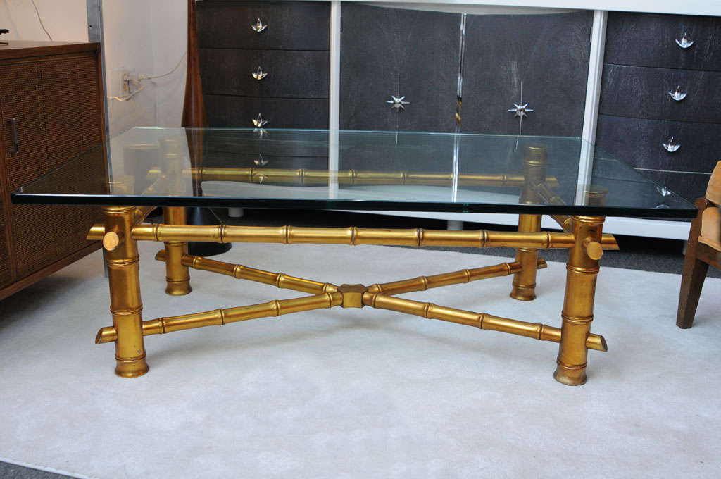 Hollywood regency gold bamboo coffee table for sale at 1stdibs for Coffee table 48 x 30