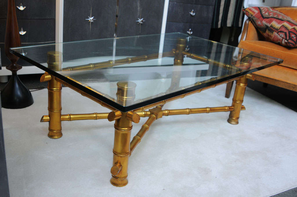 American Hollywood Regency Gold Bamboo Coffee Table For