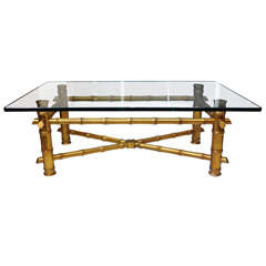 Hollywood Regency Gold Bamboo coffee Table