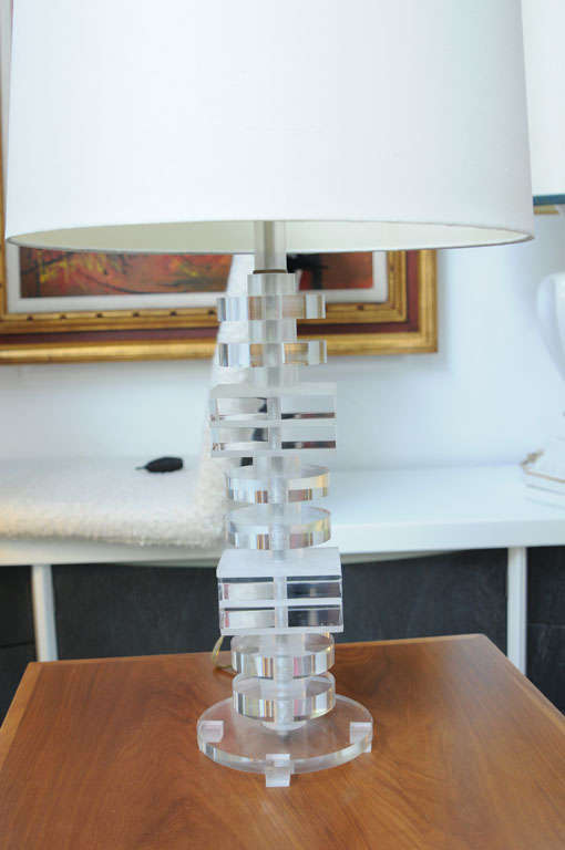 American 1970's Stacked Lucite Table Lamps For Sale