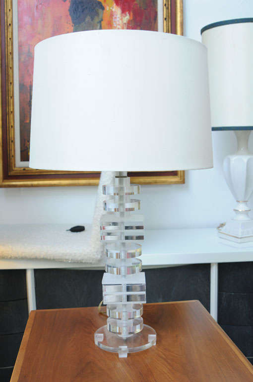 Late 20th Century 1970's Stacked Lucite Table Lamps For Sale