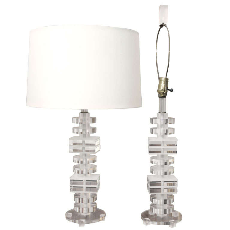 1970's Stacked Lucite Table Lamps For Sale