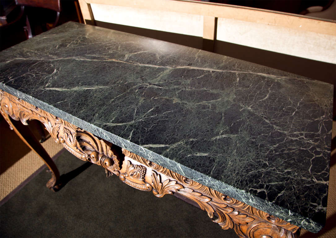 Engraved Limestone Inlay : Carved lime wood console with marble top at stdibs