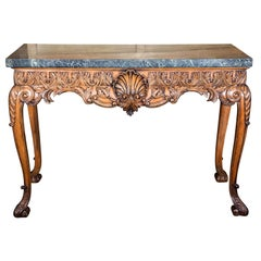 Carved Lime Wood Console with Marble Top