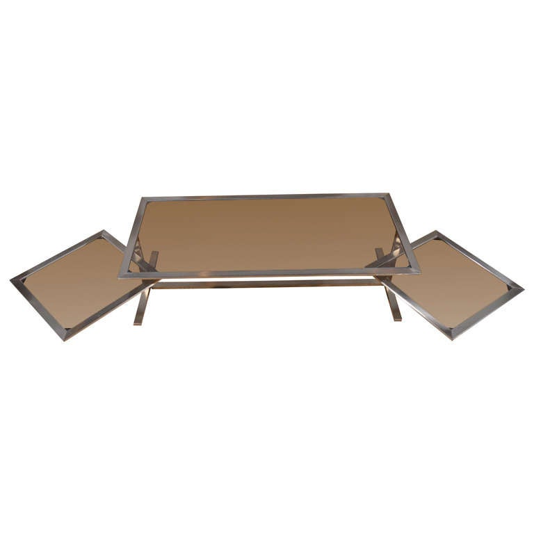 Nickel And Smokey Glass Coffee Table With Swing Arm Shelves At 1stdibs