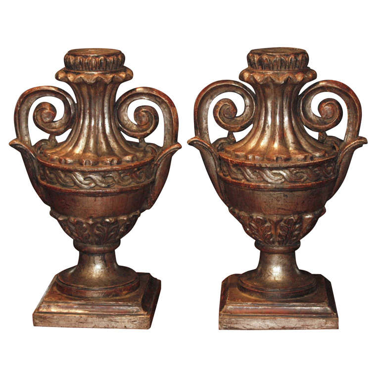 pair of silver leaf wood finials ls