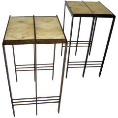 Parchment and Bronze Occasional Tables after Jean-Michel Frank