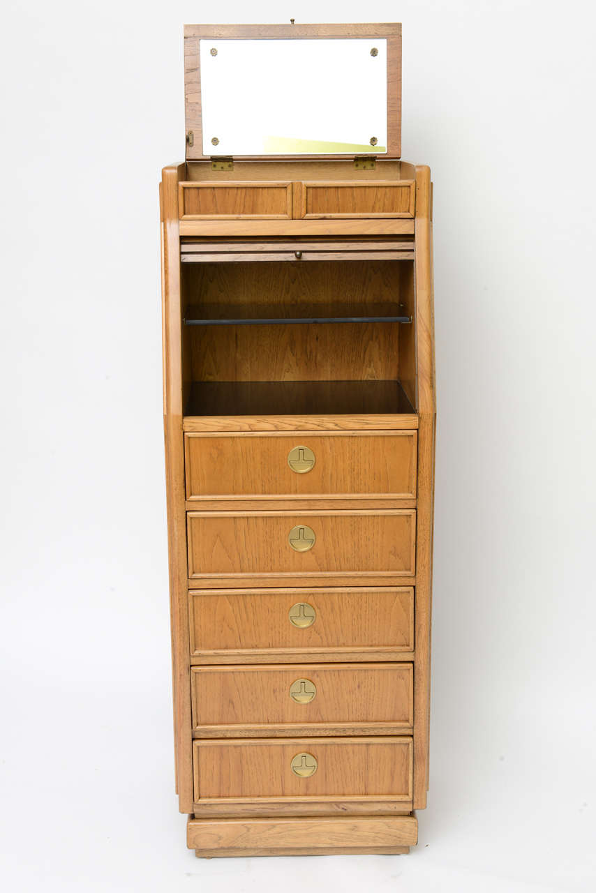 Mid-20th Century Campaign Style Tall Slender Dresser Valet by American of Martinsville For Sale