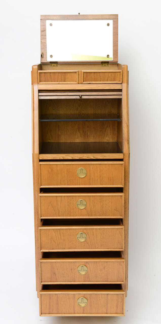 Brass Campaign Style Tall Slender Dresser Valet by American of Martinsville For Sale