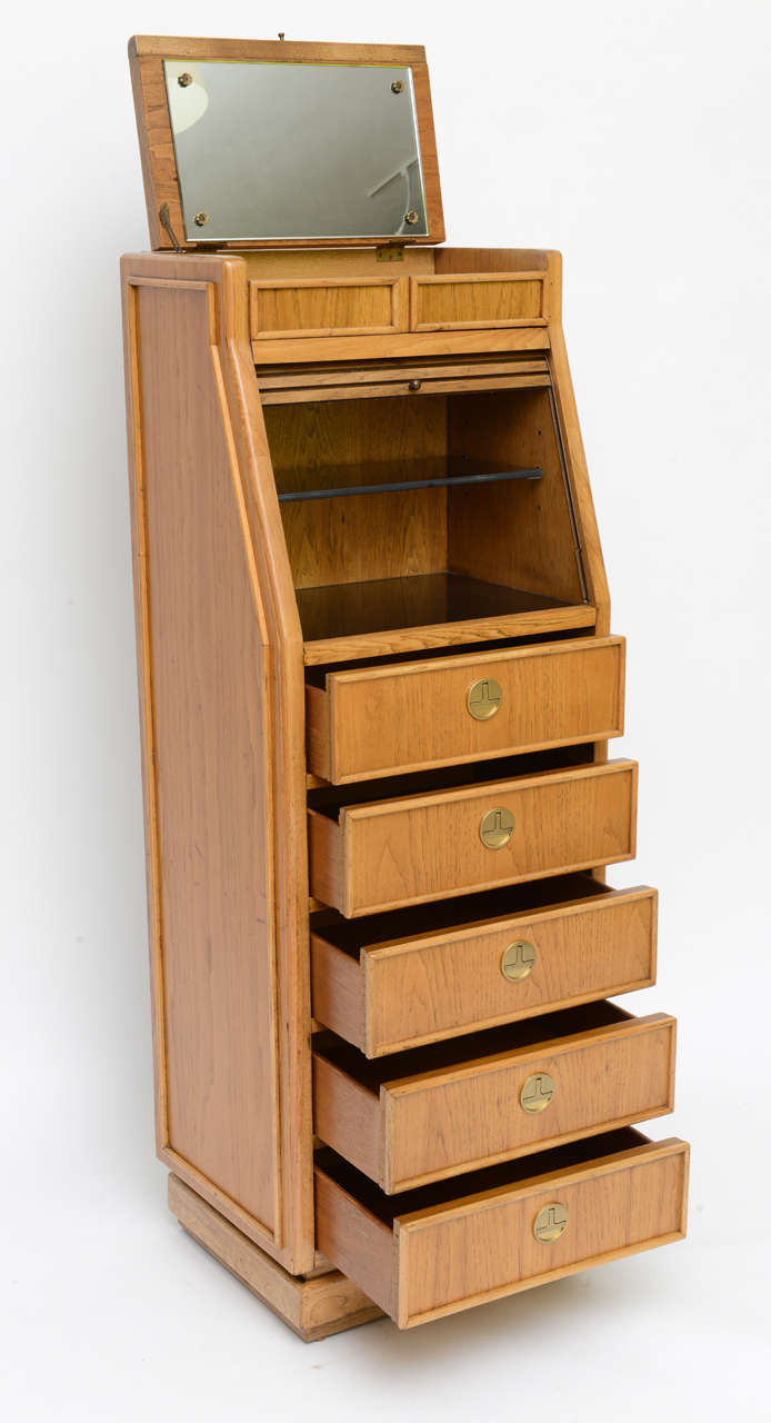 Campaign Style Tall Slender Dresser Valet by American of Martinsville For Sale 1
