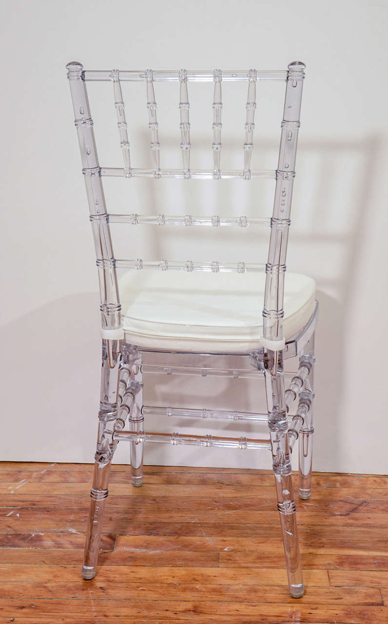 Set Of Eight Vintage Acrylic Chairs With Bamboo Motif At