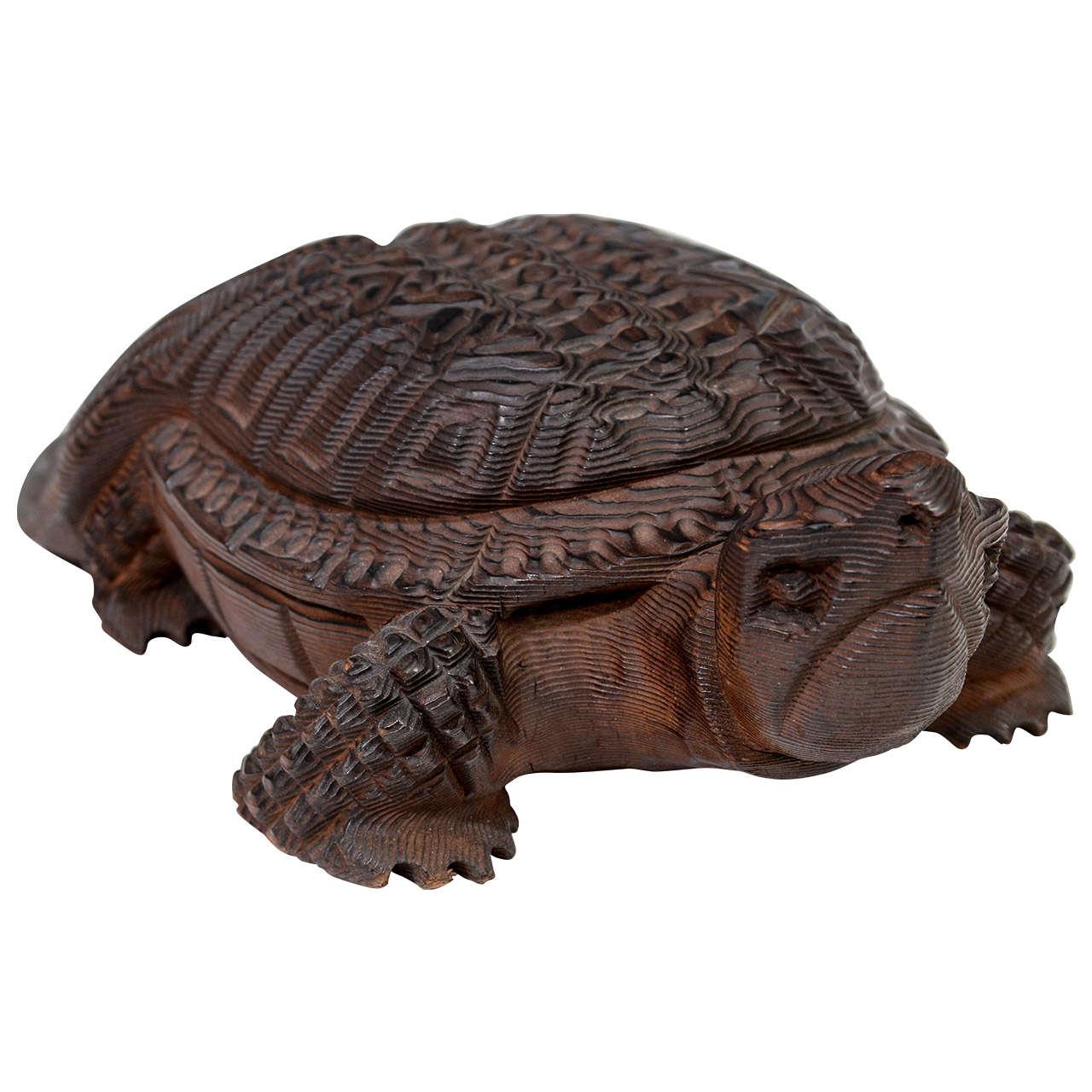 Japanese Meiji Period Carved Large Turtle Okimono