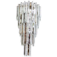 Mid Century Five-Tier Glass and Lucite Chandelier