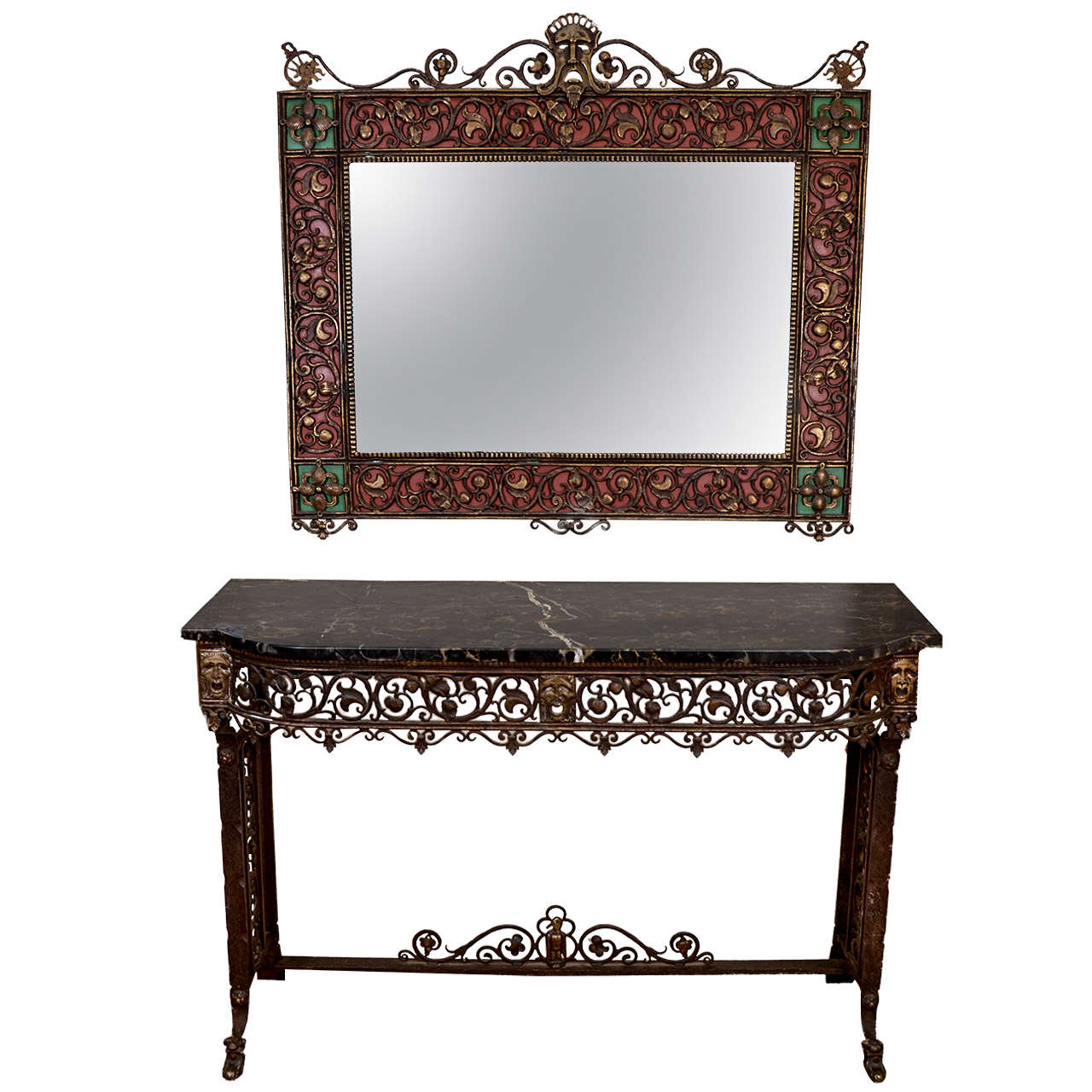 Art Deco Oscar Bach Console and Mirror Set