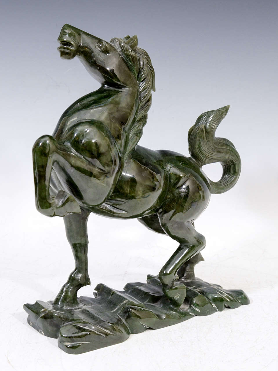 Chinese Spinach Jade Horse Sculpture For Sale At 1stdibs