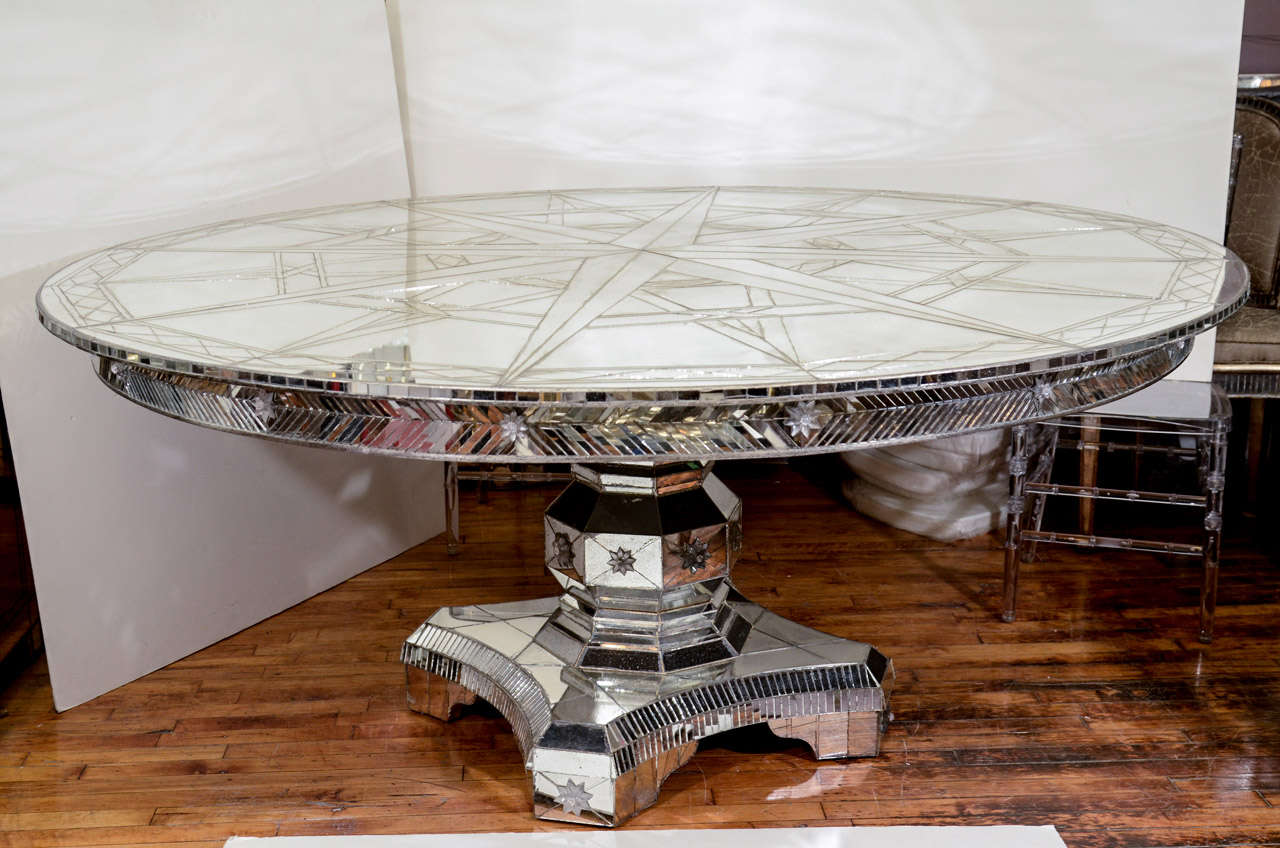 Large Vintage Mirrored Dining Table With Compass Star
