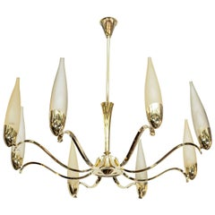 Mid Century Eight-Arm Brass and Opaline Chandelier Attributed to Stilnovo