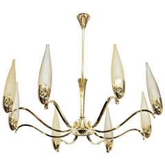 Mid Century Stilnovo Eight-Arm Brass and Opaline Chandelier