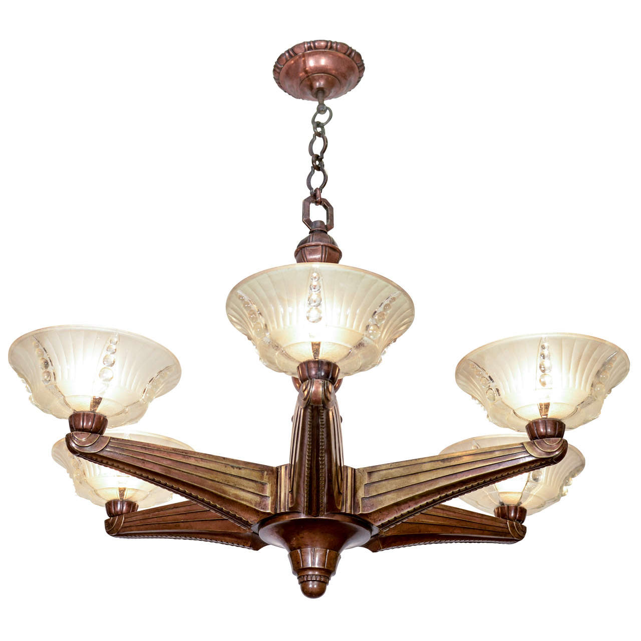 Art Deco Six Light Bronze Chandelier By Atelier Petitot For