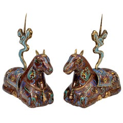 Pair of Chinese Cloisonne Horse Incense Holders