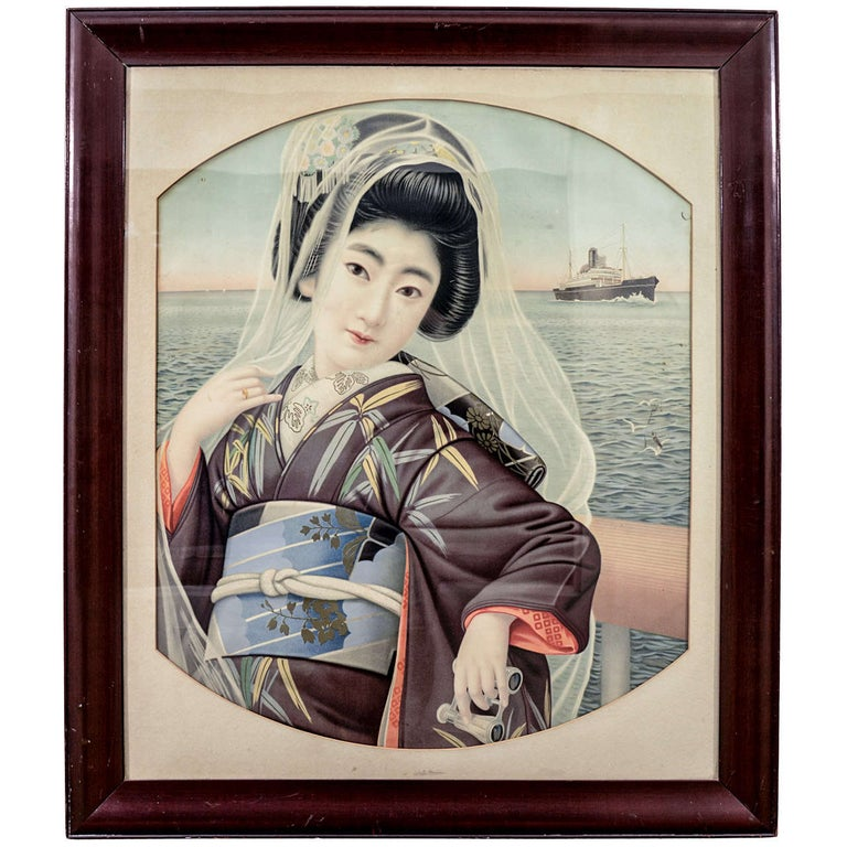 Japanese Framed Portrait of a Young Lady For Sale