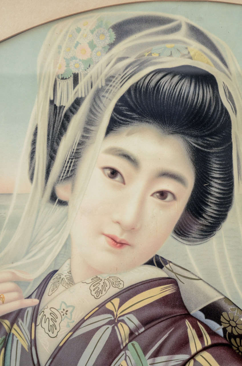 Japanese Framed Portrait of a Young Lady In Good Condition For Sale In New York, NY