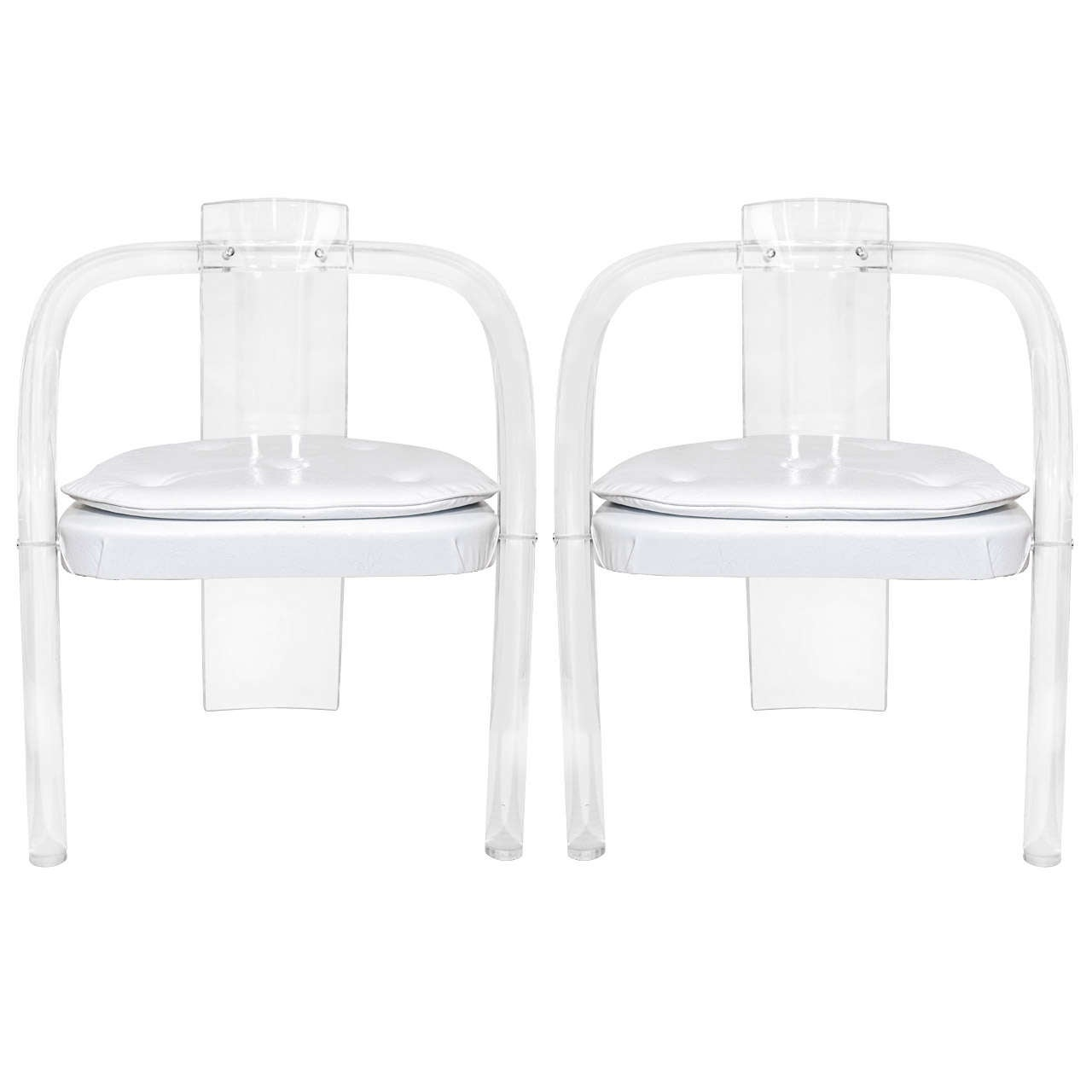 Mid Century Modern Charles Hollis Jones Lucite Small: Mid Century Pair Of Lucite And Vinyl Chairs Attributed To