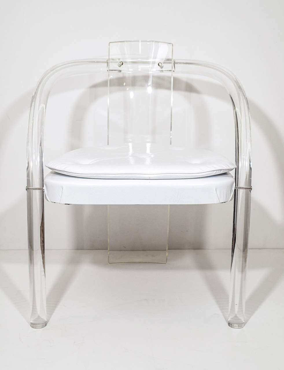 Mid-Century Modern Mid Century Pair of Lucite and Vinyl Chairs Attributed to Charles Hollis Jones For Sale